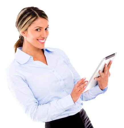 Woman managing her business online on a tablet computer - isolated Stock Photo - 18055420