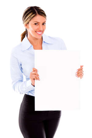 Business woman holding a banner - isolated over a white background Stock Photo - 18055419