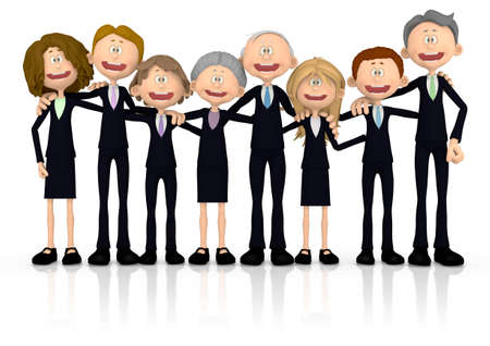 rendered: 3D group of business people - isolated over a white background