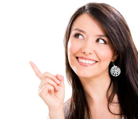 pont: Gyönyörű nőt mutat egy nagy ötlet - elszigetelt, mint egy fehér háttér