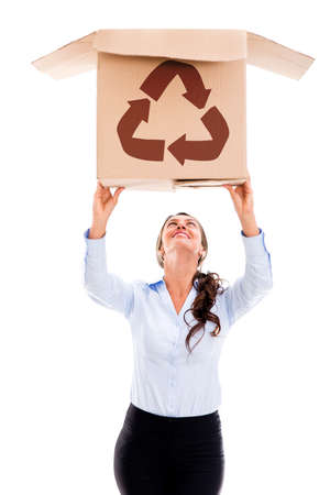 Woman lifting a recyclable cardboard box - isolated over white photo