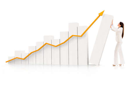 Business woman pushing a growing graph - isolated over a white background photo