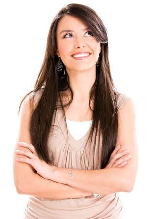 femme regarde en haut: R�fl�chi femme occasionnel regardant - isol� sur un fond blanc Banque d'images