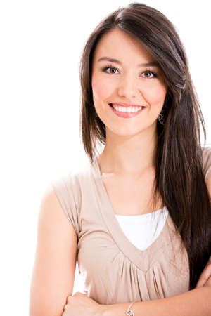 empowered: Beautiful Latin woman smiling - isolated over a white background