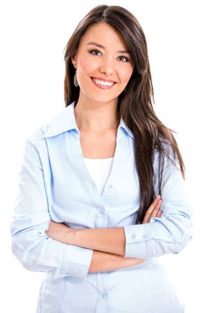 woman smiling: Casual business woman smiling - isolated over a white background Stock Photo