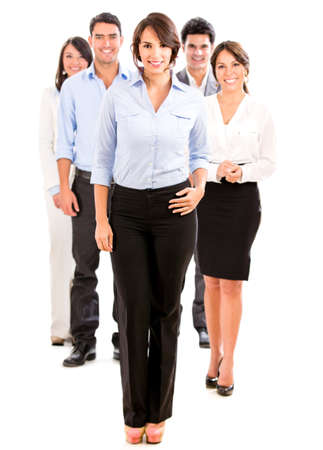 workmates: Group of business people looking happy - isolated over white Stock Photo