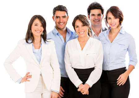 workmates: Successful business team smiling - isolated over a white background
