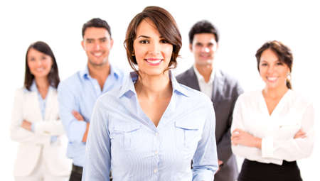 Business woman with her team looking happy - isolated over white photo