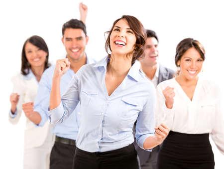 personas festejando: Equipo de negocios exitoso celebrando con los brazos para arriba - aislados en blanco
