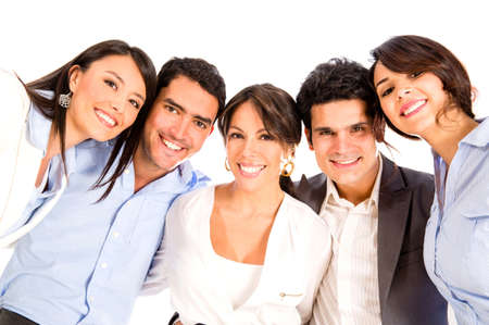 a person: Group of business people looking happy - isolated over white Stock Photo