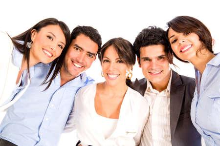 grupos de personas: Grupo de personas de negocios que buscan feliz - aislado sobre blanco