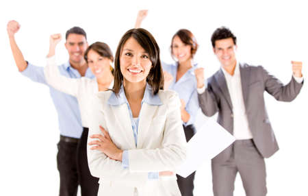 workmates: Successful business woman leading a team - isolated over white Stock Photo