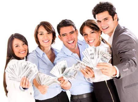 us money: Successful business group with lots of money - isolated over a white background