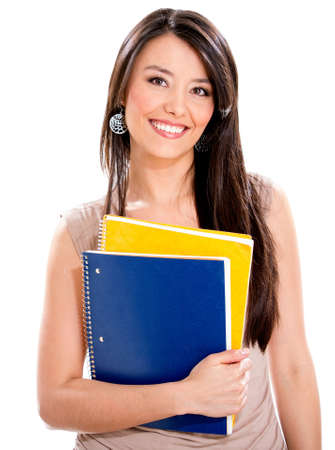Happy female student holding notebooks - isolated over a white background Stock Photo - 18568830