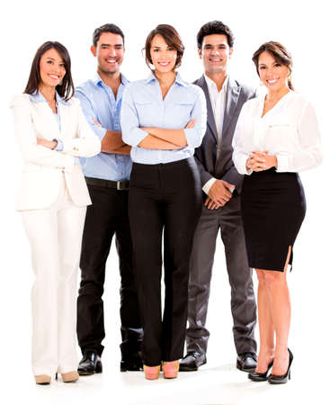 Successful business people looking happy - isolated over white photo