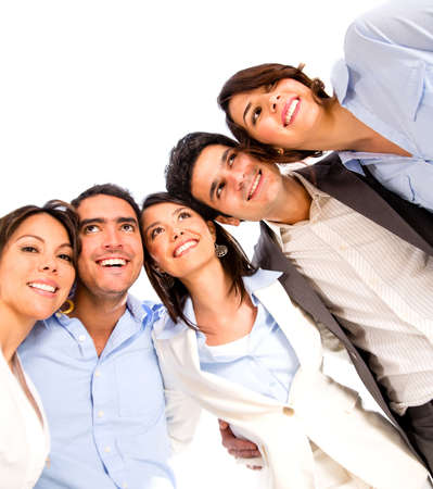 Group of business people looking very happy - isolated over white photo