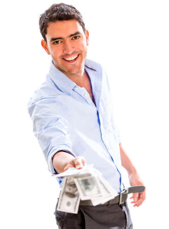 Successful business man holding money - isolated over a white background Stock Photo - 18561632