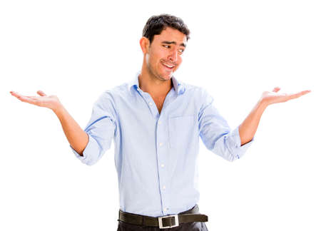 hesitant: Hesitant business man with arms open - isolated over white