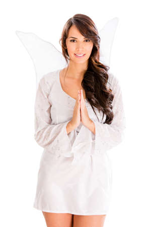 Woman dressed as a cute angel - isolated over white Stock Photo - 18561665