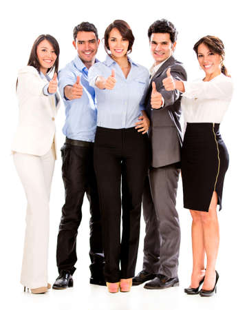 professionals: Group of business people with thumbs up  - isolated over a white background Stock Photo