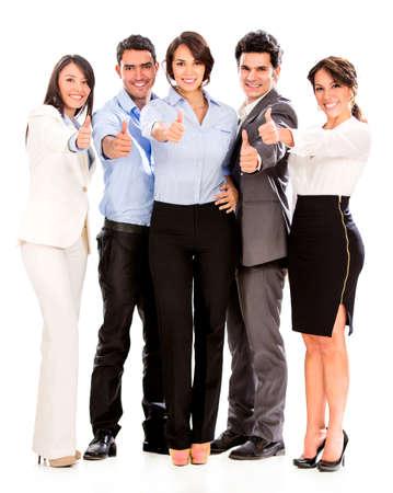 trabajadores: Grupo de hombres de negocios con los pulgares arriba - aislados en un fondo blanco