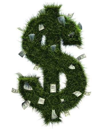3D grass dollar shape and some bills inside. Isolated over white. photo