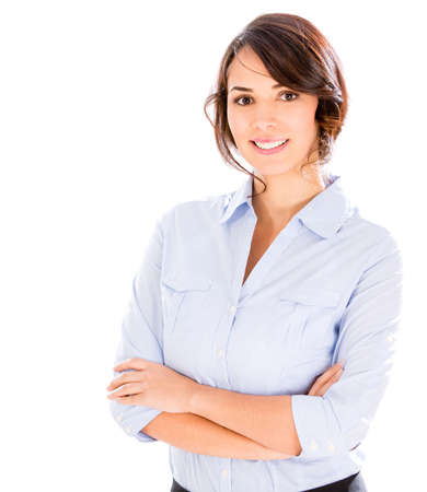 Confident business woman with arms crossed - isolated over a white background photo