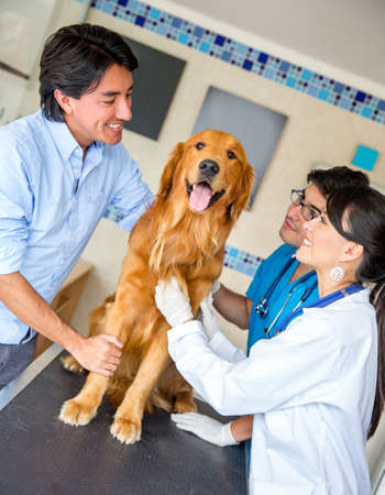 Man taking a dog to the vet for a checkup Stock Photo - 18904698