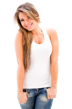 Beautiful casual woman looking happy - isolated over white background photo