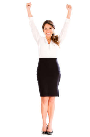 Successful business woman with arms up - isolated over a white background photo