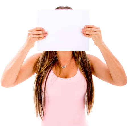 Woman covering her face with a banner - isolated over white photo