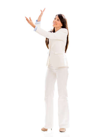 Business woman holding something - isolated over a white background Stock Photo - 18937318