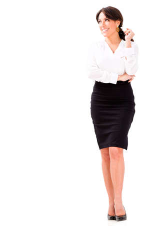 Thoughtful business woman - isolated over a white background photo