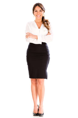 Happy business woman smiling - isolated over a white background photo