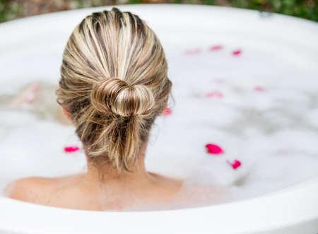 woman bath: Woman taking a bubble bath - beauty concepts Stock Photo