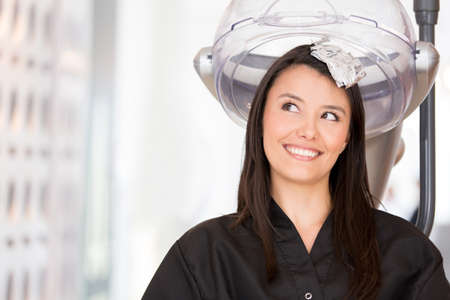 Beautiful woman at the beauty salon dyeing her hair Stock Photo - 19092804