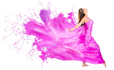pink paint: Happy woman in pink paint dress - isolated over white background