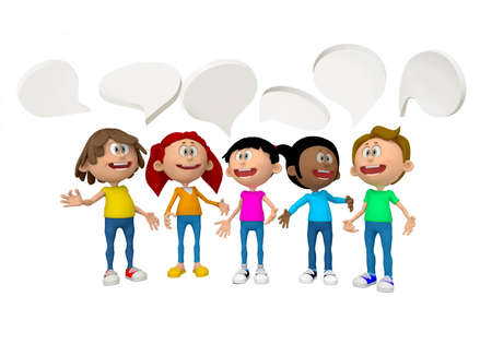 talkative: 3D group of people talking - isolated over white background
