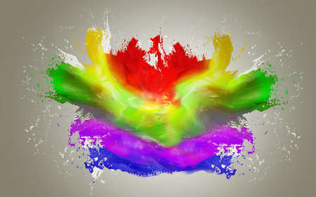 Splash of color paint made in 3D - over a grey background Stock Photo - 19237661
