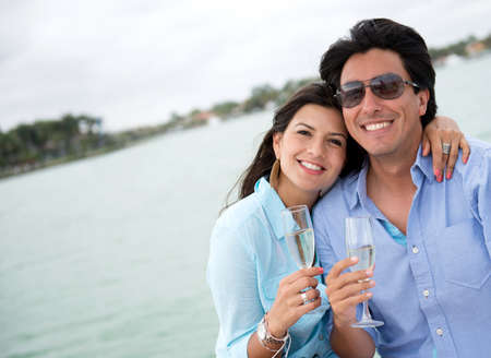 Couple in romantic getaway on a yacht photo