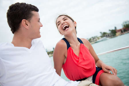 Happy couple enjoying a romantic date on the yacht Stock Photo - 19226748