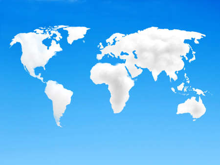 World map made out of white clouds over a blue background Stock Photo - 19237676