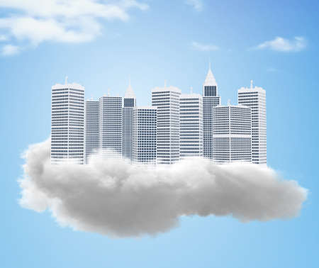 3D Dream city of tall buildings on a cloud Stock Photo - 19237751