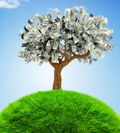 money tree: 3D Money growing on a tree - financial concepts Stock Photo