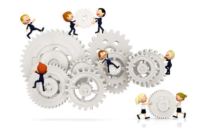 3D kids working as a team assembling cogwheels - isolated over white photo