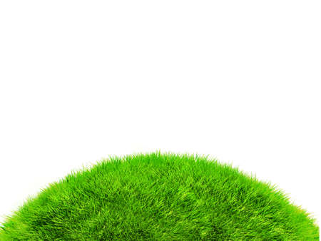 over hill: 3D green hill of grass - isolated over a white background