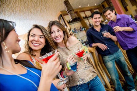 girls night out: Happy group of women on a girls night out Stock Photo