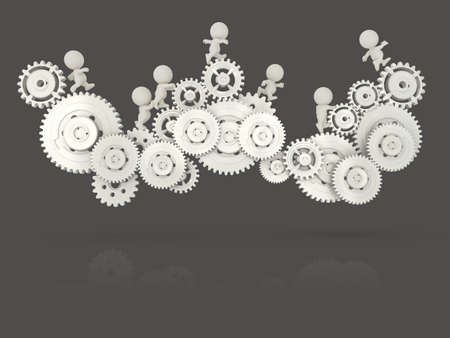 3D people working together assembling cogwheels - teamwork concepts Stock Photo - 19622297