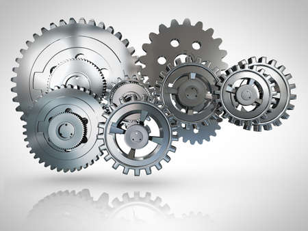 industrial background: 3D metallic cogwheels engaged - over a white background
