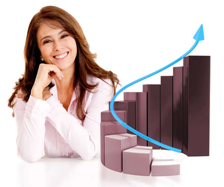 statistic: Successful business woman with a growth graph - isolated over white
